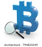 loupe and blue bitcoin symbol... | Shutterstock . vector #794824249