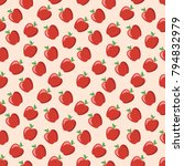 seamless pattern with ripe red... | Shutterstock .eps vector #794832979