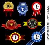 seal ribbon rosette badge...   Shutterstock .eps vector #79483321