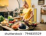 housewife cooking  organic food ... | Shutterstock . vector #794835529