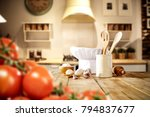 kitchen interior and cook hat... | Shutterstock . vector #794837677