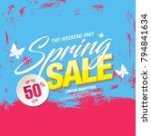 spring sale banner template... | Shutterstock .eps vector #794841634