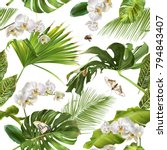 vector botanical seamless... | Shutterstock .eps vector #794843407