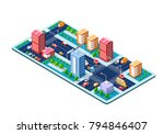 colorful 3d isometric city of... | Shutterstock .eps vector #794846407