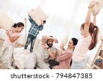 two girls and a boy fight with... | Shutterstock . vector #794847385