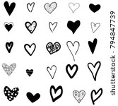 hearts hand drawn icons set... | Shutterstock .eps vector #794847739