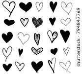 hearts hand drawn icons set... | Shutterstock .eps vector #794847769
