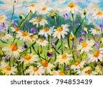 original oil painting of white... | Shutterstock . vector #794853439