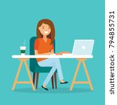 freelancer at work  working... | Shutterstock .eps vector #794855731