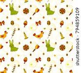 vector pattern on easter theme. ... | Shutterstock .eps vector #794859109