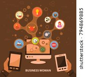 business woman flat icon... | Shutterstock .eps vector #794869885