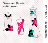 fashion set of three dresses in ... | Shutterstock .eps vector #79487263