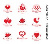 red hearts created with ecg... | Shutterstock .eps vector #794875099