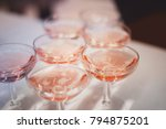 group of glasses with pink... | Shutterstock . vector #794875201