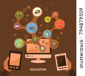 education flat icon concept.... | Shutterstock .eps vector #794879509