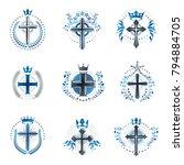 crosses religious emblems set.... | Shutterstock .eps vector #794884705