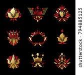 royal symbols  flowers  floral... | Shutterstock .eps vector #794885125