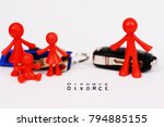 Small photo of Assets division and kids custody after divorce, with plastic miniature and keys on white background