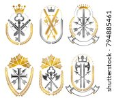 vintage weapon emblems set.... | Shutterstock .eps vector #794885461