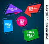 flat origami promotion banner ... | Shutterstock .eps vector #794885545