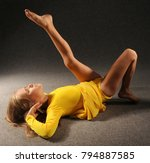 the girl carries out gymnastic... | Shutterstock . vector #794887585