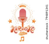 karaoke party invitation poster ... | Shutterstock .eps vector #794891341