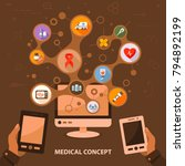 medical flat icon concept.... | Shutterstock .eps vector #794892199