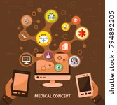 medical flat icon concept.... | Shutterstock .eps vector #794892205