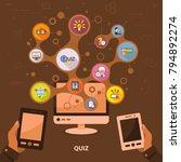quiz flat icon concept. vector... | Shutterstock .eps vector #794892274