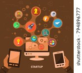 startup flat icon concept.... | Shutterstock .eps vector #794896777