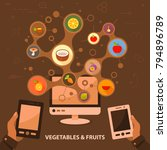 vegetables and fruits flat icon ...   Shutterstock .eps vector #794896789