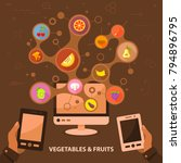 vegetables and fruits flat icon ...   Shutterstock .eps vector #794896795