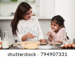 smiling little girl with face... | Shutterstock . vector #794907331