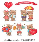 happy valentines day teddy... | Shutterstock .eps vector #794908357