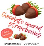 chocolate covered strawberries... | Shutterstock .eps vector #794909374