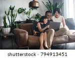 young asian family looking at... | Shutterstock . vector #794913451