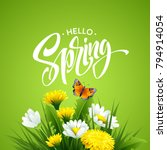 inscription hello spring on...   Shutterstock .eps vector #794914054