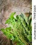 Fresh Aromatic Herbs On Old...