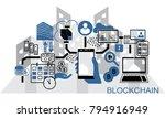 blockchain vector background... | Shutterstock .eps vector #794916949