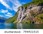the seven sisters waterfall... | Shutterstock . vector #794921515