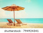 two beach chairs on tropical... | Shutterstock . vector #794924341