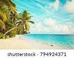 tropical sand beach with palm... | Shutterstock . vector #794924371