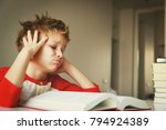 little boy tired stressed of... | Shutterstock . vector #794924389