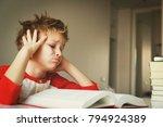 little boy tired stressed of... | Shutterstock . vector #794924389