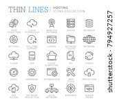 collection of hosting thin line ...