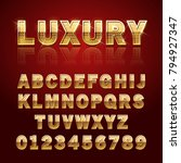 golden glossy alphabet letters... | Shutterstock .eps vector #794927347