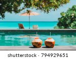 two coconut drinks on tropical... | Shutterstock . vector #794929651