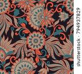 vintage pattern in  batik style.... | Shutterstock .eps vector #794937829