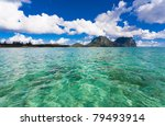 ocean and mountains on tropical island Lord Howe - stock photo