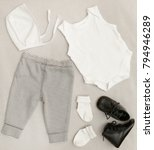 grey   white baby unisex outfit  | Shutterstock . vector #794946289